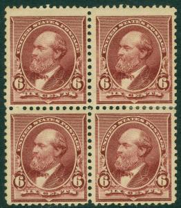USA : 1890. Scott #224 PO Fresh Blk of 4 with left pair NH. PSAG Cert. Cat $530+