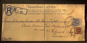 NIGERIA 1929 Registered Postal Stationery Cover Lagos to Plane Makers London