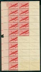 US #C25 6¢ Airmail part of sheet of 45 GUMMING ERROR only bottom row w/gum