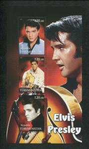 Turkmenistan Commemorative Souvenir Stamp Sheet - Rock & Roll King Elvis Presley