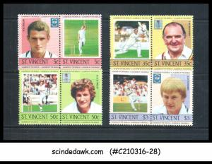 ST. VINCENT - 1985 LEADERS OF THE WORLD / SPORTS / CRICKET - 8V - MINT NH