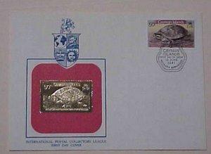 CAYMAN ISLANDS FDC GOLD FOIL 1981 TURTLE CACHET UNADDRESSED
