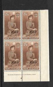 NEW ZEALAND 1954  2/6  QEII   PLATE  BLK 4    MNH  CP N13a