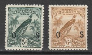 NEW GUINEA 1931 DATED BIRD OS 5D AND 6D