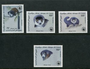 Comoro Islands Scott C171-4 C171-74, Lemur Mongoose Set of 4, WWF 1987, NH
