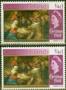 Cayman Islands 1969 1/4d Brt Purple SG221var Blacks & Gold Partially Omitted V.F