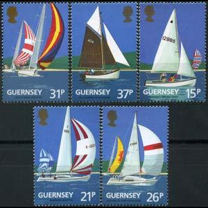 GUERNSEY 1991 - Scott# 459-63 Yachts Set of 5 NH