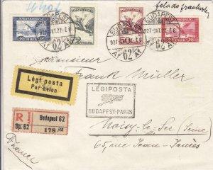 1927, 1st Flt., Budapest, Hungary to Paris, France, Registered (20835)
