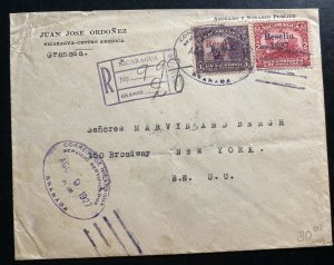 1927 Granada Nicaragua Commercial Registered Cover To Broadway NY USA
