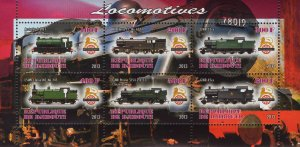 Djibouti Trains Locomotive Souvenir Sheet of 6 Stamps MNH