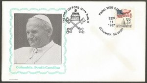US COVER.1987 THE VISIT OF POPE JOHN PAUL II TO COLUMBIA, S CAROLINA.COIL STAMP