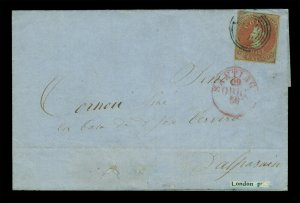 CHILE 1855 COLUMBUS - London print - 5c brown red Sc# 8 VF cvr Santiago to VALP.