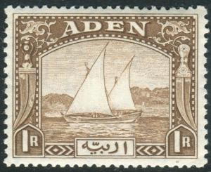 ADEN-1937 1r Brown.  A lightly mounted mint example Sg 9