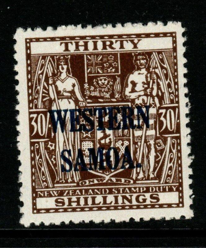 SAMOA SG211 1948 30/= BROWN ARMS MTD MINT