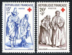 France B318-B319, MNH. Red Cross. Engraving by Jacques Callot, 1957