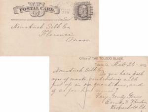 United States Ohio Toledo, Ohio 1883 Leavitt Machine Type B(D)  Postal Card  ...