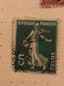 FRANCE 1921 5c GREEN USED  #159