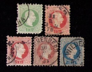 Austria Sc 35-36,39 Used EARLY Franz Josef  (Lot Of Five) Color Shades F-VF