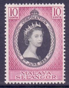 Malaya Selangor Scott 101 - SG115, 1953 Coronation 10c MNH**