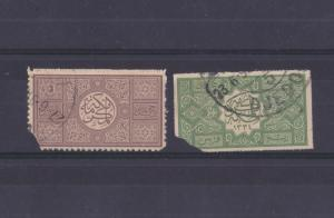 SAUDI ARABIA 1919  KINGDOM HEJAZ 2 STAMP USED GOOD FOR STUDY