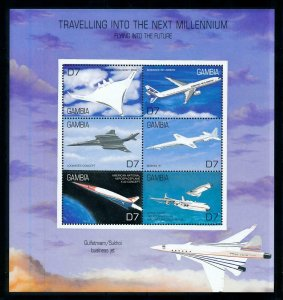 [101633] Gambia 2000 Aviation aircrafts Sheet MNH