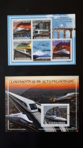 Trains and locomotives - Sao Tome and Principe 2009 - Complete SS+Bl ** MNH