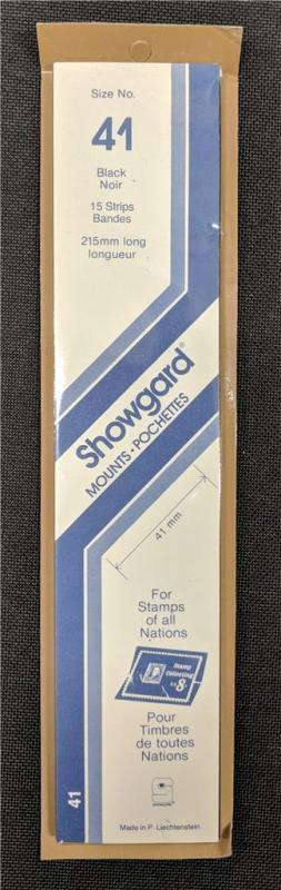 Stamp Mounts Supplies Showgard #41 New 15 strips 41mm by 215mm Black background