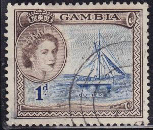 Gambia 154 USED 1953 Sailing Cutter Ship