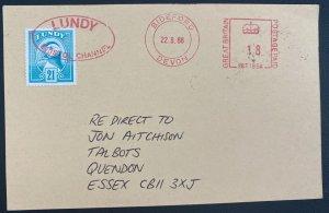 1988 Kathmandu Nepal Stationery Postcard cover To Lundy Island England Mixedfran