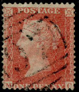 SG38, 1d pale red PLATE 27, LC14, USED. Cat £35. MC