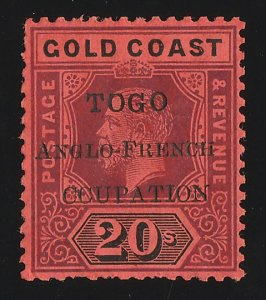 TOGO - BRITISH OCCUPATION : 1915 Accra KGV 20/- variety 'CCUPATION'. RARE!