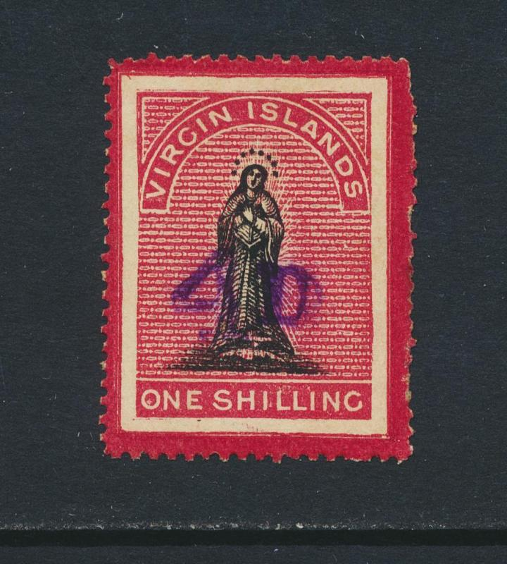 BRITISH VIRGIN IS 1888, 4d on 1sh, VF UNUSED SG#42 (SEE BELOW)