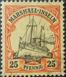 German Marshall Islands 1901 25 Pfennig Michel 17 used