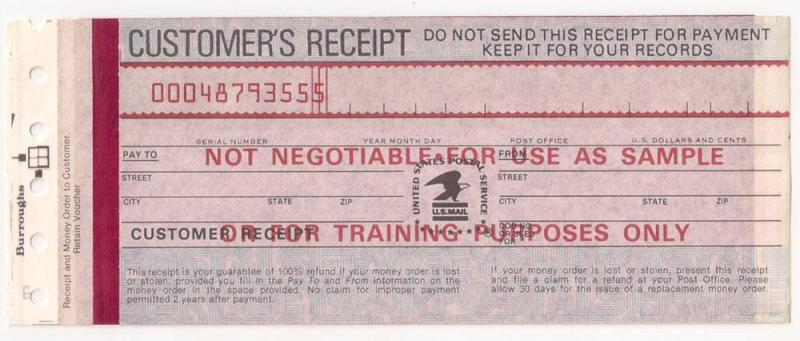 USPS Money Order (ca 80s-90s) SAMPLE for training purposes
