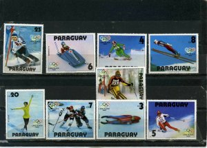 PARAGUAY 1979 WINTER OLYMPIC GAMES LAKE PLACID SET OF 9 STAMPS MNH