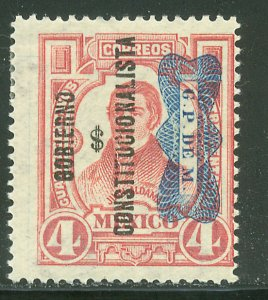 MEXICO 531Var, 4¢ INVERTED Corbata & Gobierno $ overprints, UNUSED, H OG. VF.