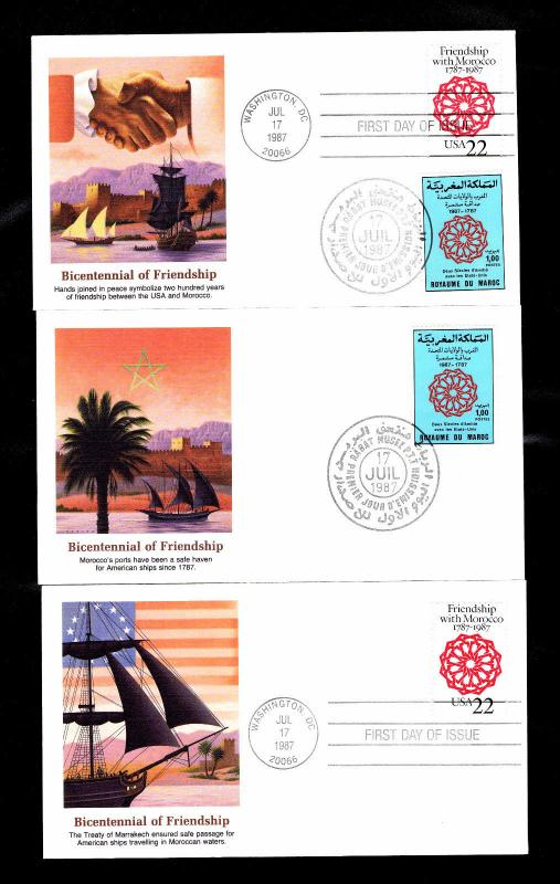 1987 U S  #2349 & Morocco #642 Friendship First Day Covers