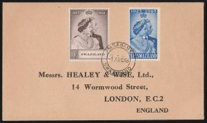 SWAZILAND : 1948 KGVI Silver Wedding set 1½d & 10/- FDC cover. To England.