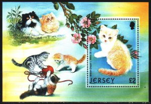 Jersey. 2002. bl 34. Domestic cats. MNH.