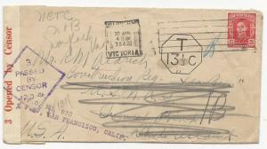 Australia Scott #194 on Cover Censored FWD Aux Markings (APO) April 30, 1942