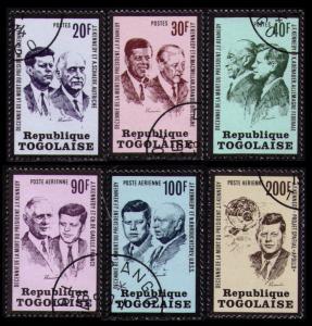 TOGO 1973 # 856-8, C206-8 USED CPL SET OF 6 U.S. PRESIDENT JOHN F. KENNEDY