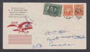 Canada Sc 141,142 on 1927 First Flight cover LA MALBAIE-SEVEN ISLANDS, Roessler