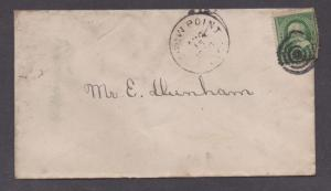 **US 19th Century Cover, Crow Point, MA, 8/15 CDS, Fancy Target Cancel, DPO4