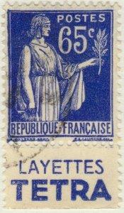 FRANCE - 1937 Pub LAYETTES TETRA sur Yv.365b 65c Paix obl.