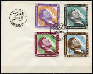 JORDAN 1965  SCOTT#506/09 JOHN F.ENNEDY MEMORIAL  SET FIRST DAY  COVER