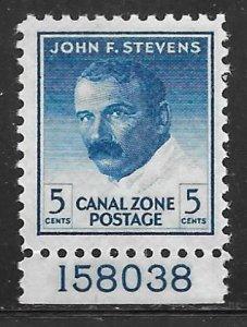 Canal Zone 139a: 5c John Stevens, MNH, F-VF