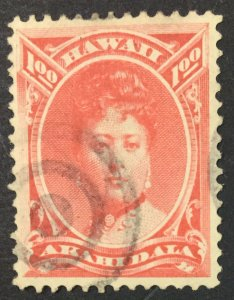 MOMEN: US STAMPS HAWAII #49 $1 USED $250 LOT #44822