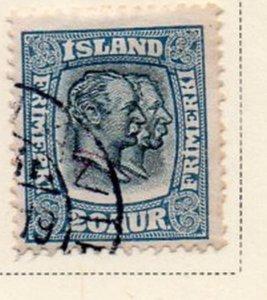 Iceland Sc 107 1915 20 aur 2 Kings stamp used