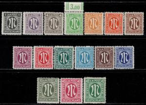 Germany AM Post Scott # 3N1 - 3N16, mint nh