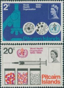Pitcairn Islands 1968 SG92-93 WHO set MNH